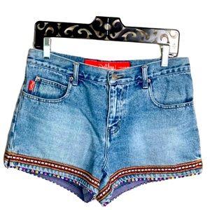 Outlaw High waist beaded Mom jean shorts